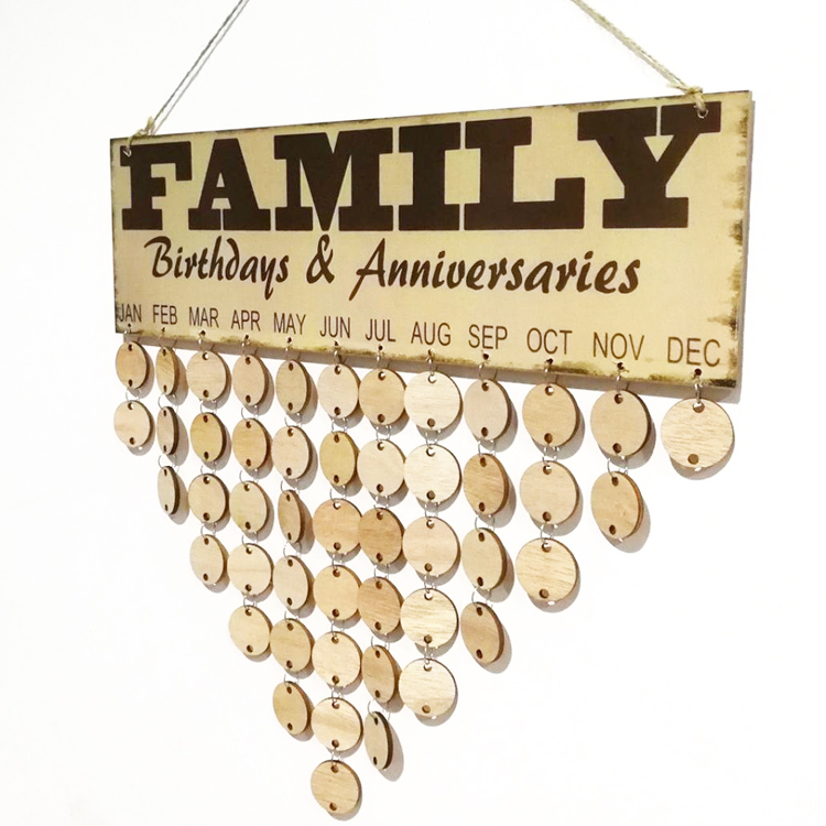 Wood Birthday Reminder Board Friends Family Wooden DIY Calendar