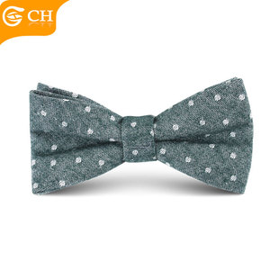 Factory Direct Sale Custom Pre Tied Child Green White Dot Cotton Baby Bowties