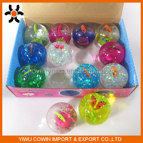 65mm Glitter with butterfly and powdered Water TPU Rubber Bouncing Ball