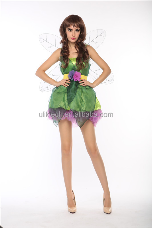 Womens Sexy Green Elf Cosplay Costumes Vintage Floral Cosplay Dresses With Wings Halloween Costume for Women fairy cosplay