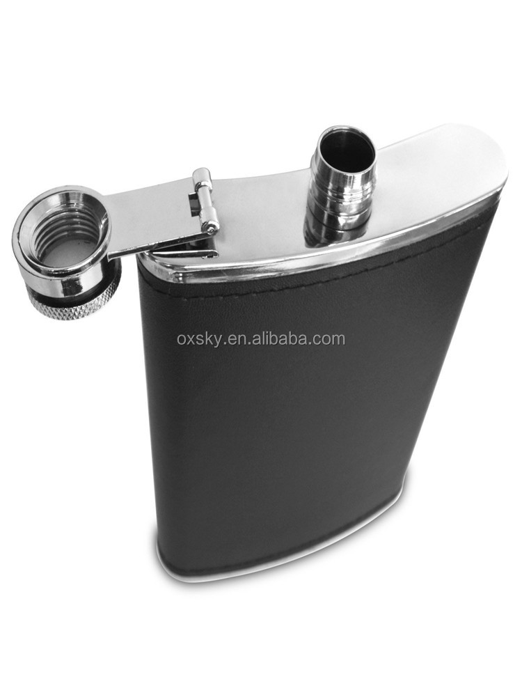 Leather Wrapped Stainless Steel Leak Proof Liquor Hip Flask with Funnel and Gift Box