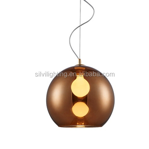 Alibaba round copper glass ball pendant light fittings for dining room/bar/coffee shop glass cup for chandeliers