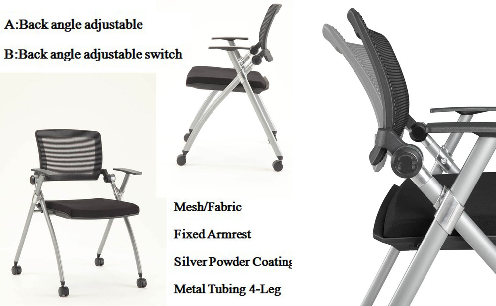 training folding office chair with wheels,silver power-coating