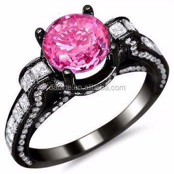 Pink Sapphire Black Gold Bling Cubic Zirconia Music Note Engagement
