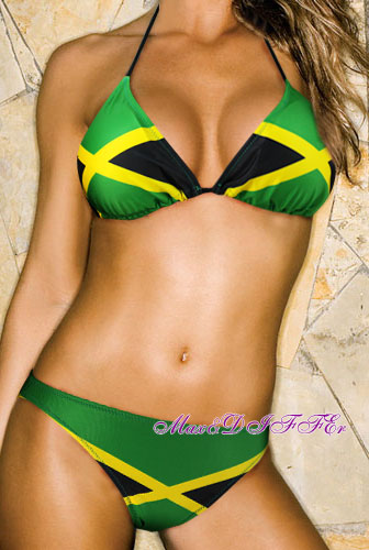 Free shipping Hot sexy new Caribbean Jamaica flag padded ladies bikini swimwear SWIMSUIT size M L