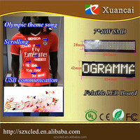 save 20% flexible soft USB or Bluetooth scrolling message programmable for sports T-shirst advertising
