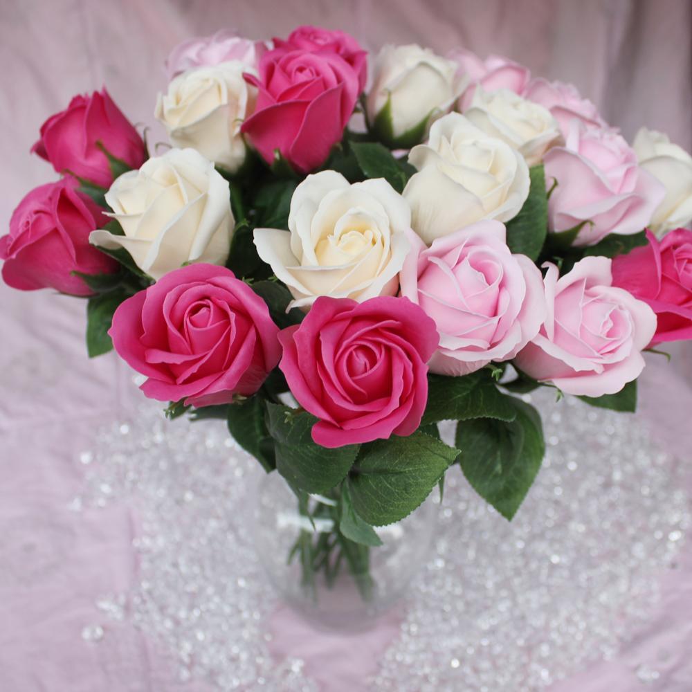 Wholesale 38cm Length Artificial Soap Rose Flower Bouquet Wedding ...