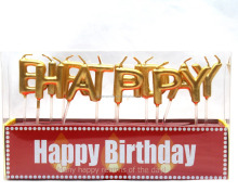 golden color flameless alphabet happy birthday candle wholesale
