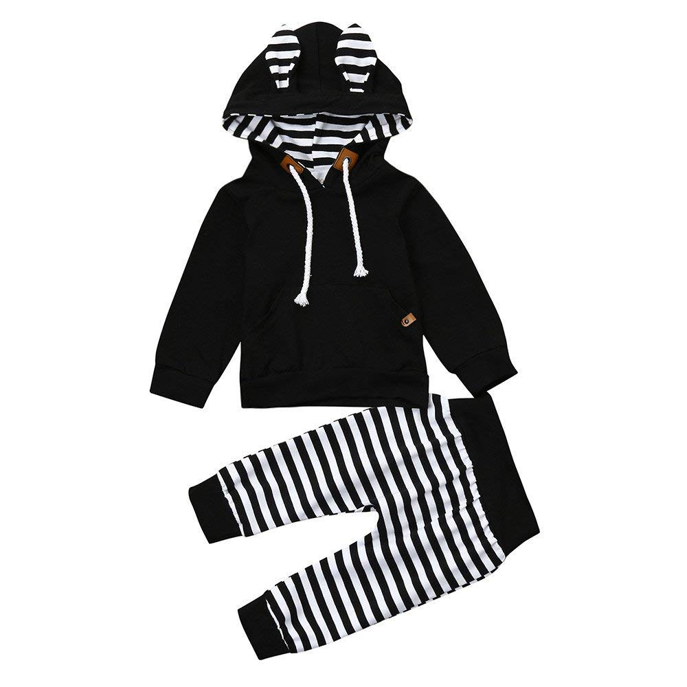 Yihaojia 2Pcs Newborn Infant Baby Boy Girl Winter Cotton Clothes Set Striped Hooded Tops+Pants 3-18M (age: 10-12 month, Black)