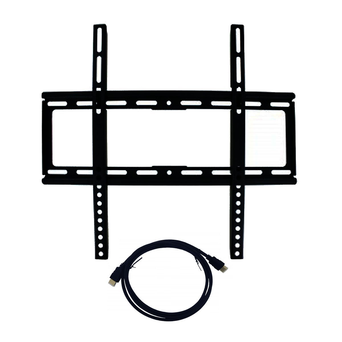 """Best Medium Sized Fixed Universal Flat Panel Screen TV Low Profile Wall Mount Bracket with 6"""""""" HDMI Cable Bundle 26"""""""" - 47"""""""" Television Heavy Duty Easy Installation Back to School College Supplies"""
