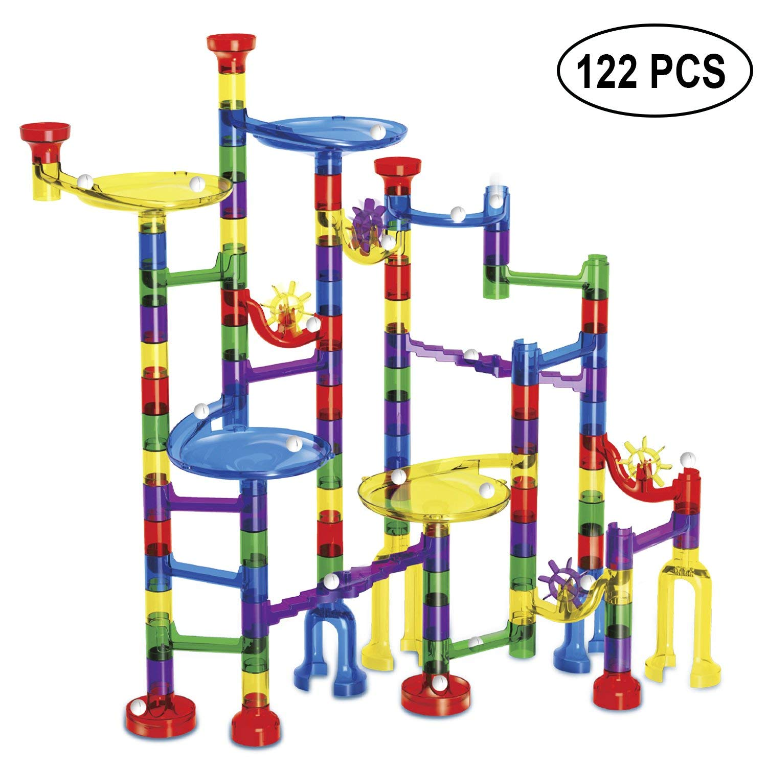 MONILON Marble Run Toy, 122 Pcs Marble Game Race Track Kids STEM Toys for Boys Girls - Learning Educational Construction Building Blocks Gifts Toys for Kids Ages 4 5 6 7 8+ Years Old