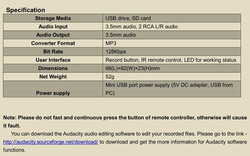 ezcap241 stand alone audio capture recorder Convert analog audio to digital files no need computer