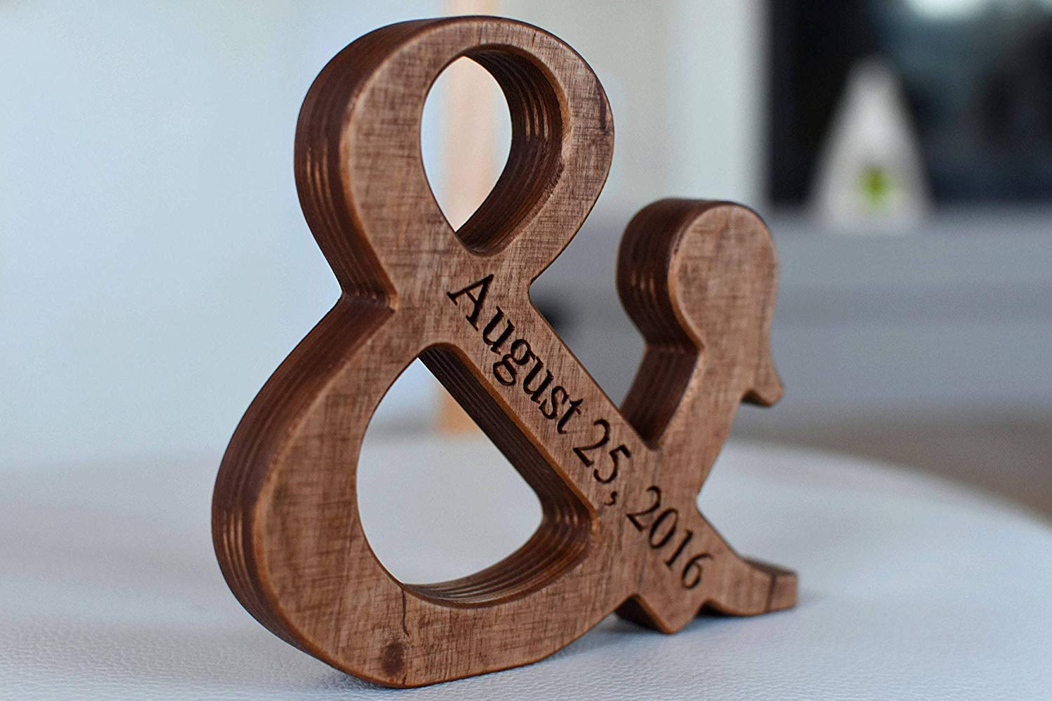 5'' Personalized Wood Ampersand - Free Standing Wooden Letter Ampersand - Valentines Day or Wedding Gift - Home Decor and 5th Wedding Anniversary Gift