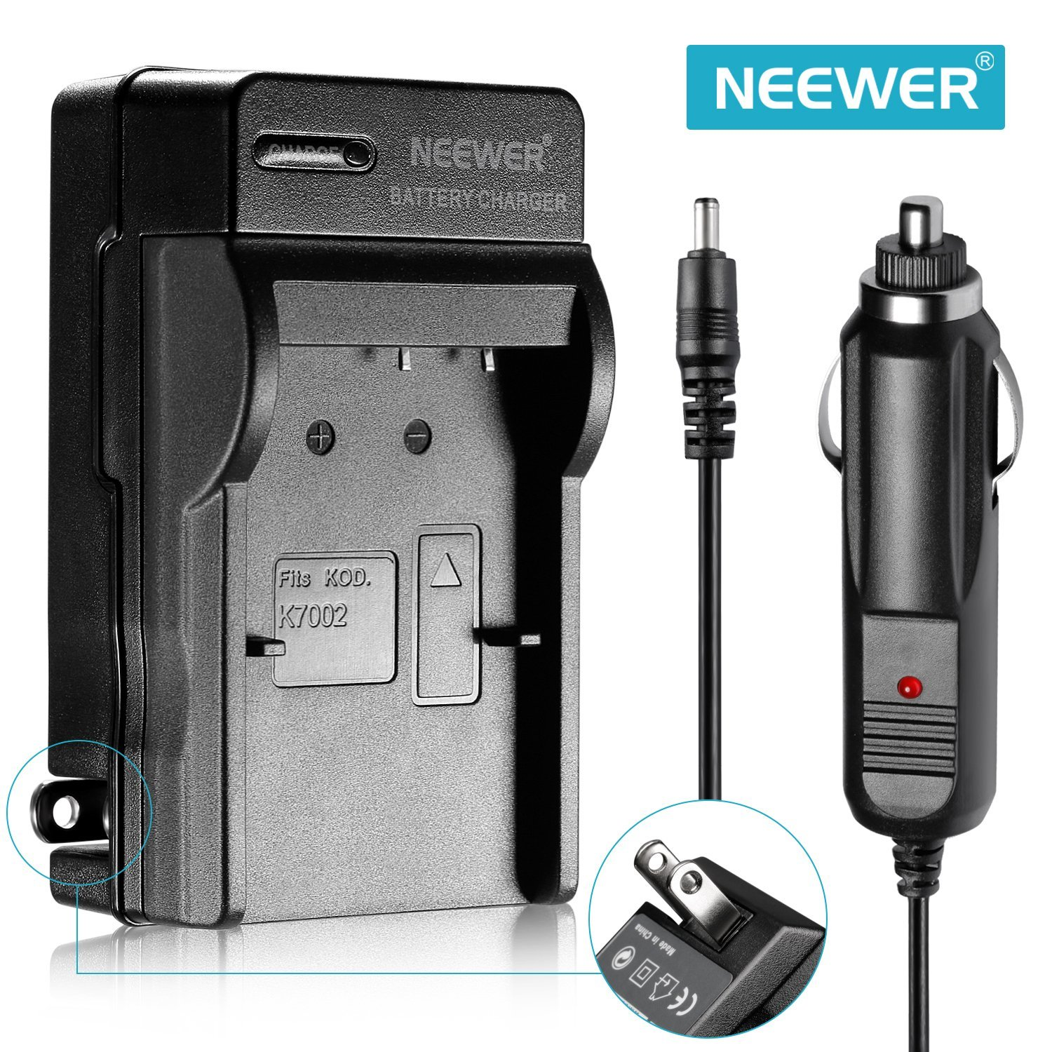 Neewer KLIC-7002 Combo AC+Car Battery Chargers For Kodak V530 V603 & EasyShare V530/V530 Zoom