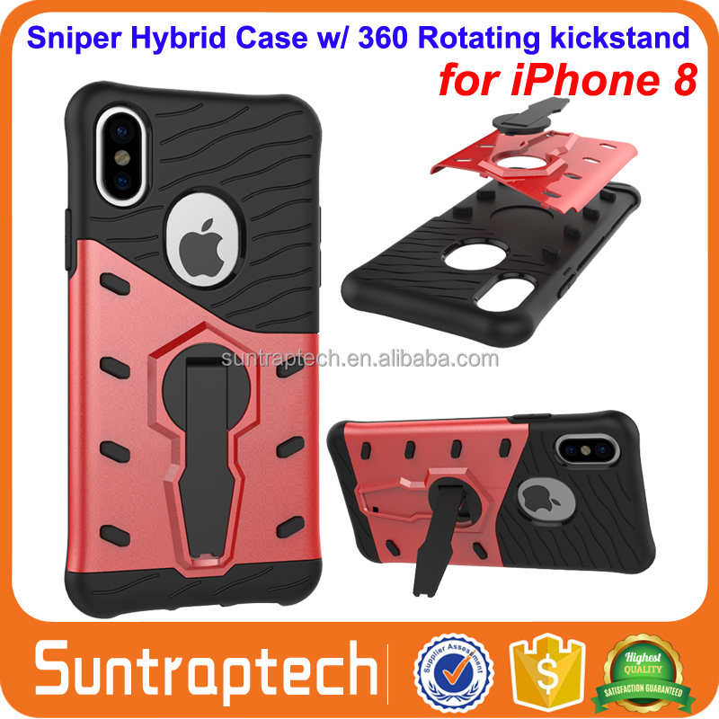 Shock Proof Sniper Hybrid Rugged Combo Armor Defender Case Cover with 360 Rotating kickstand for iPhone 8 iphone8 IP8C06