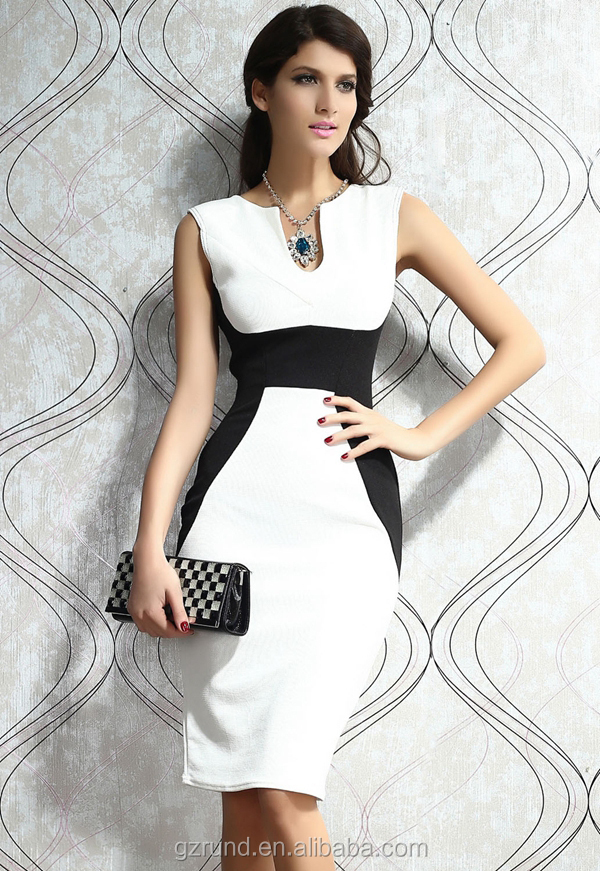 Elegant office sleeveless black and white joint blending women's ladies clothing fashion one piece dress