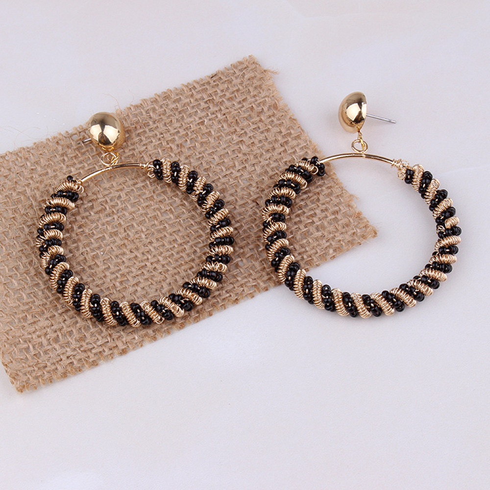 16e828cda2 FYUAN Vintage Big Round Gold Color Ball Hoop Earrings Boho Black Screw  Thread Alloy Earring for Women Party Jewelry Gift