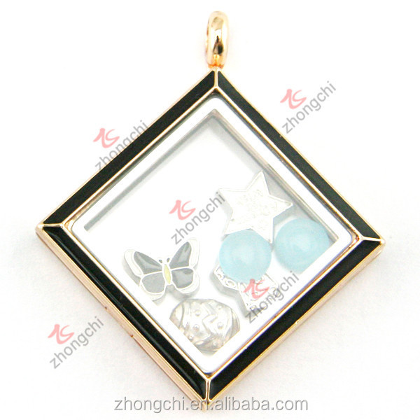 Imitation gold jewelry locket, enamel black color square locket for men wholesale