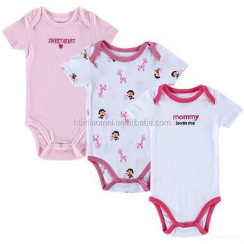 2b08155f9049 Cute Cotton Baby Girls Pink White Printing Onesie 3 pack Baby Clothes Set  Romper Newborn Baby