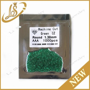 Wholesale 1.30mm Machine Cut AAA CZ Gems green nano Cubic Zirconia For Jewelry
