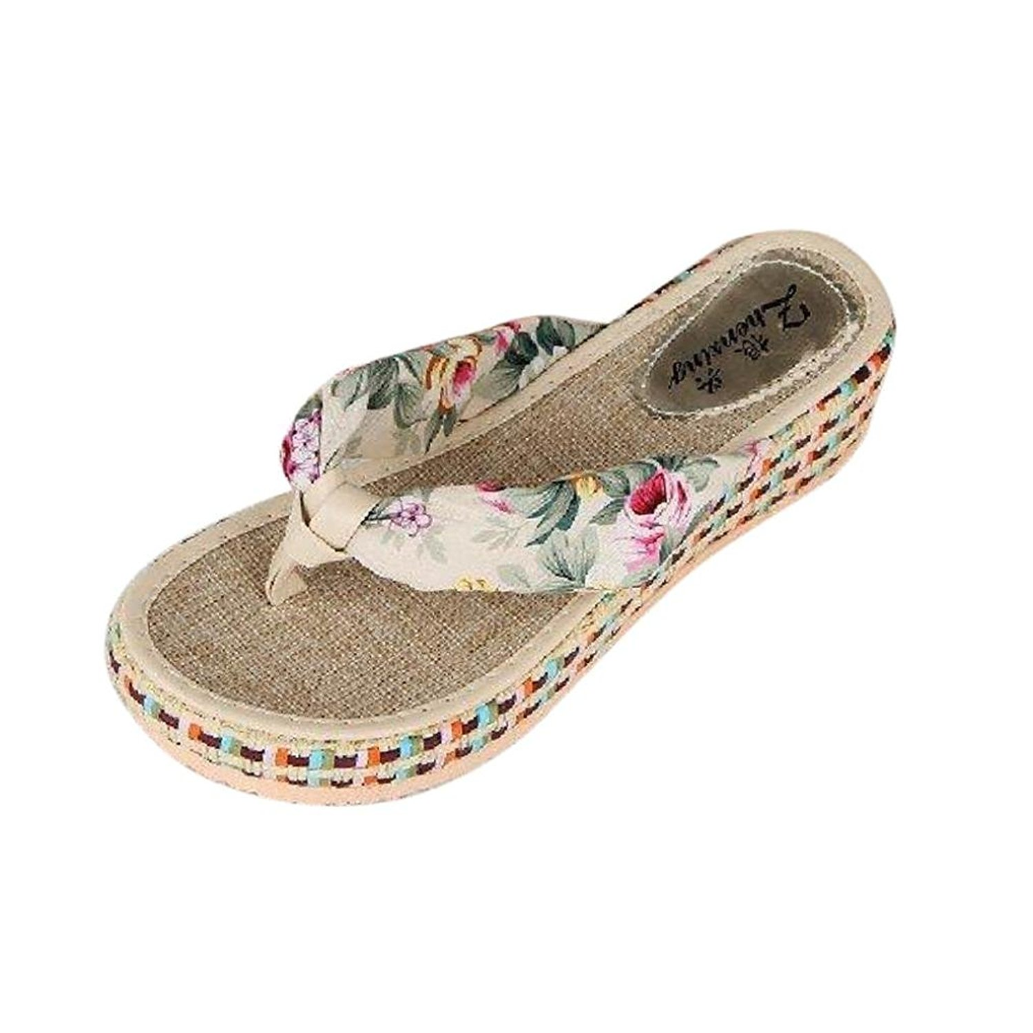 4cddb158967 Get Quotations · Sinfu Women Beach Thong Flip Flops Wedge Platform Slippers  Thick Sole Casual Slippers