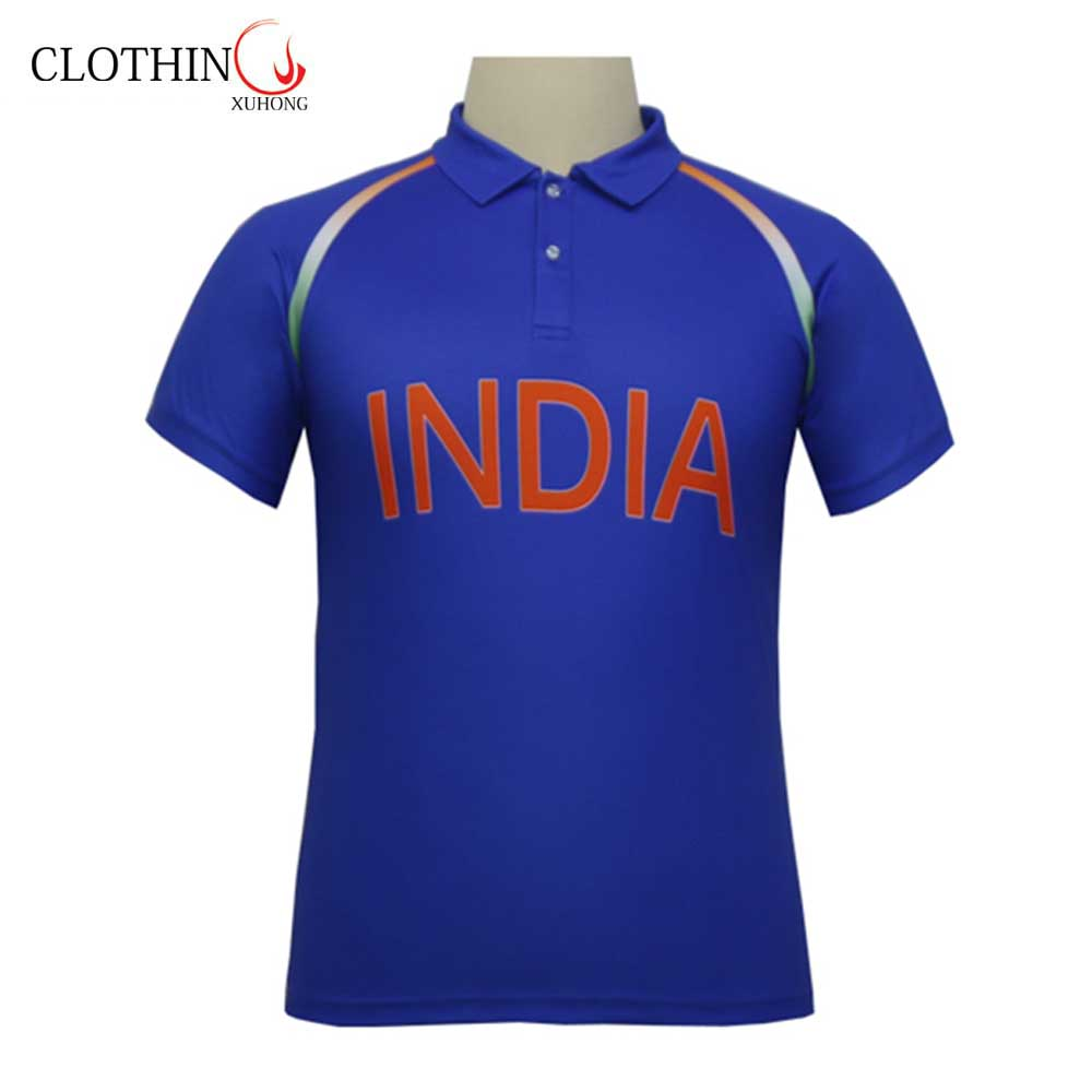 Freies verschiffen sommer mode großhandel 100% polyester blau dry fit sublimation custom design cricket team indien jersey