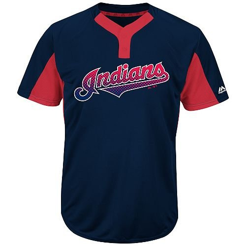 35411fee0 Get Quotations · Navy Red 2-Button Cool-Base Cleveland Indians Blank or  CUSTOM Back (