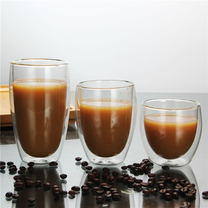 Wholesale customize coffee mug drink tumbler double wall glass cup
