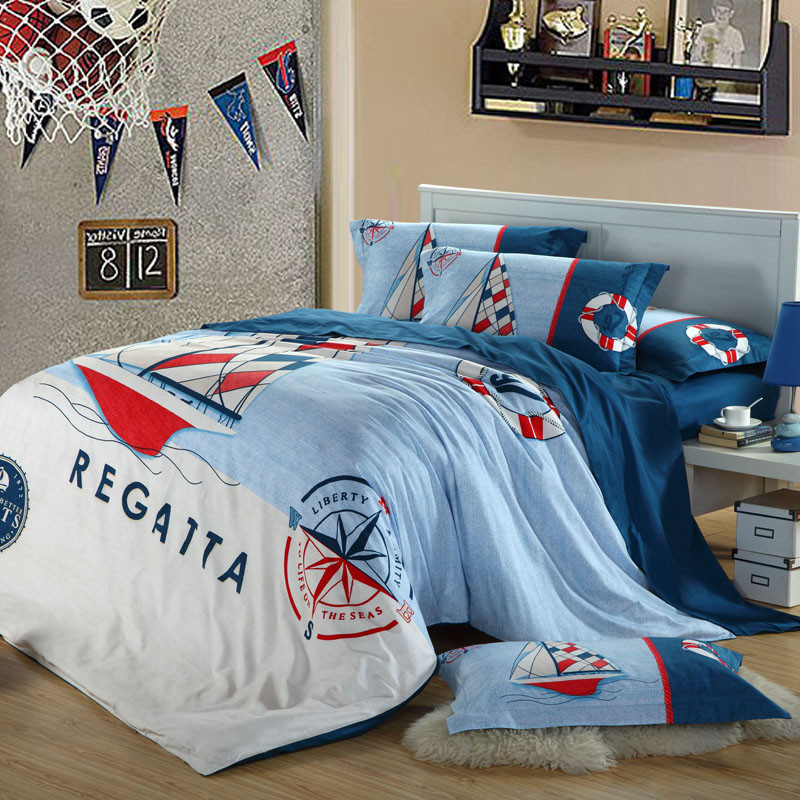 100% Cotton Cartoon Bedding <strong>set</strong>/bed sheet/duvet quilt cover/reactive printing/sailing