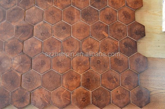 Hexagon End Grain Wood Flooring Blocks Oak Wood End Grain Wood