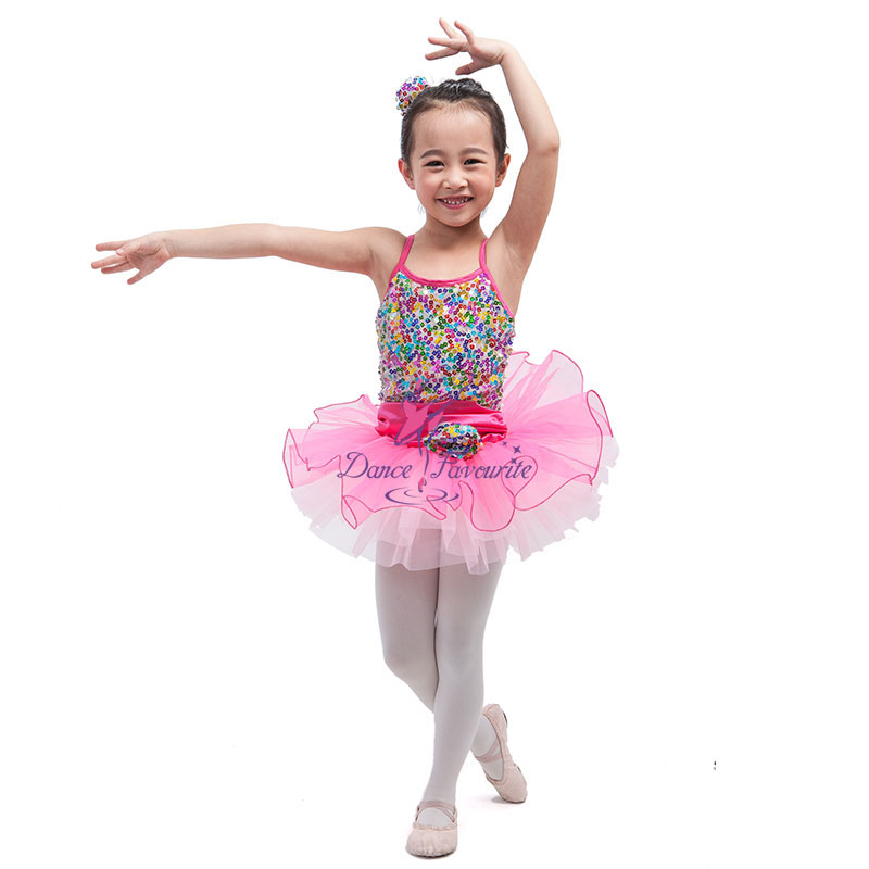 1c071a732307 Rainbow Multicolored Sequin Mesh Ballet Dance Tutu Kids Stage ...