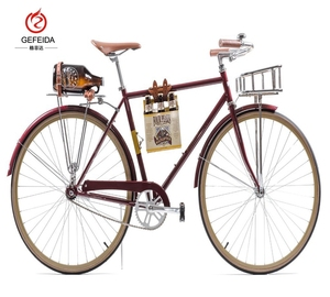 GFD 2019 new style 3 speed with headlight, real leather bag traditional bicycles for hot selling