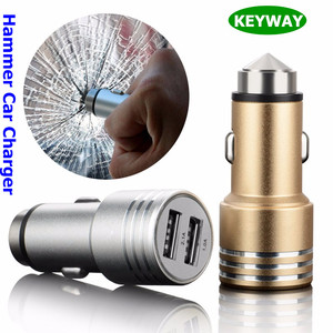 2017 New Trend 2 Port 2.1A Metal Aluminum Safety Hammer Car Charger For Iphone 7 S8 Tablet PAD