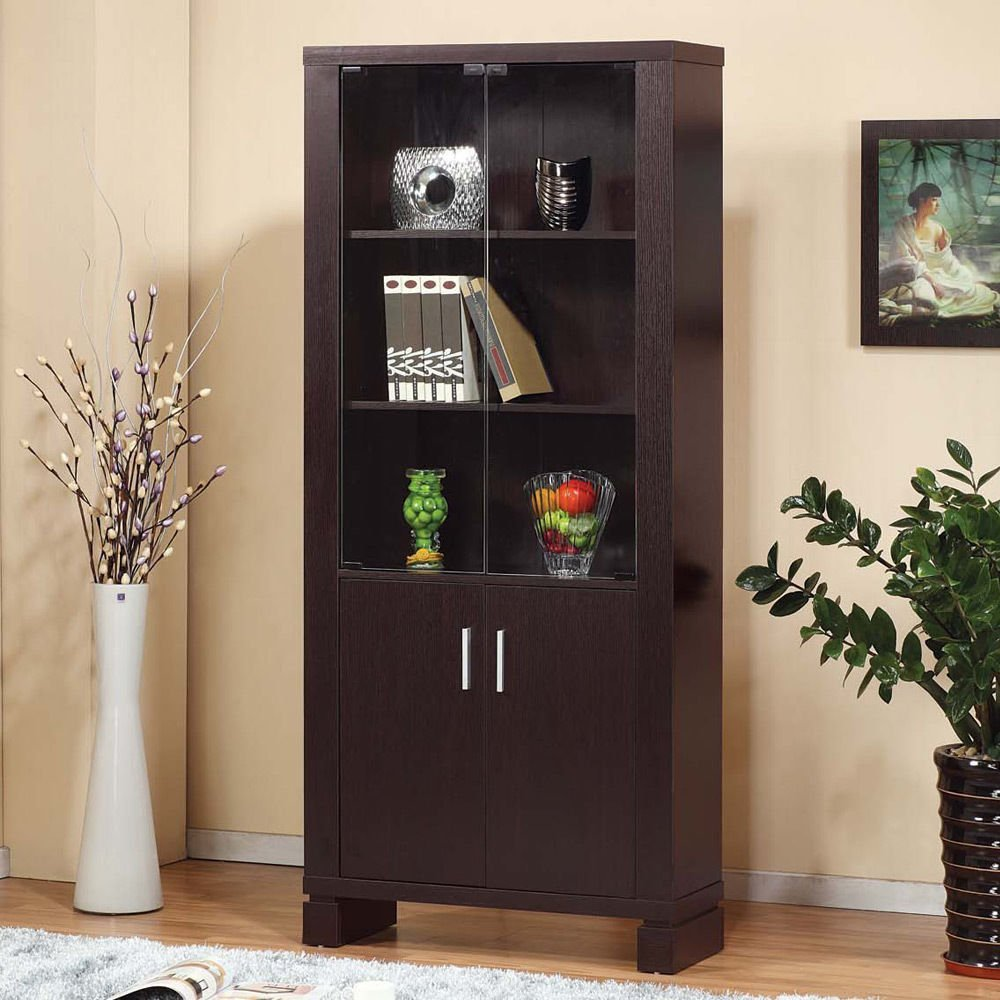 Get Quotations · 1PerfectChoice Classic Bookcase Display Racks Storage File  Cabinet Glass Doors Shelves Wood Color Espresso