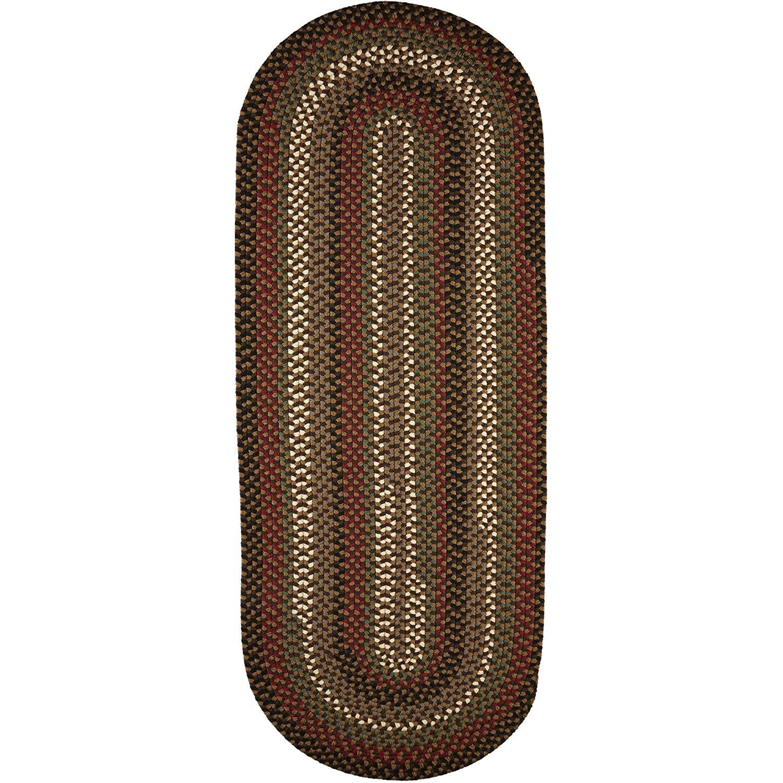 Super Area Rugs Santa Maria Braided Rug Indoor Outdoor Rug Washable Reversible Brown Patio Deck Carpet, 2' X 8' Oval Runner