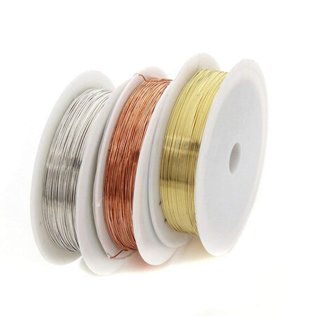 3 Rolls 3 Colors 26Gauge Bare Copper Wire  for Crafting Beading Jewelry Making 0.4mm