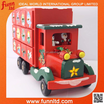santa wooden christmas truck advent calendar wholesale christmas decor