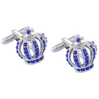 Wholesale bulk Colorful and make Custom Silk Knot mens blue crown diamond Cufflinks for men shirts XK789547