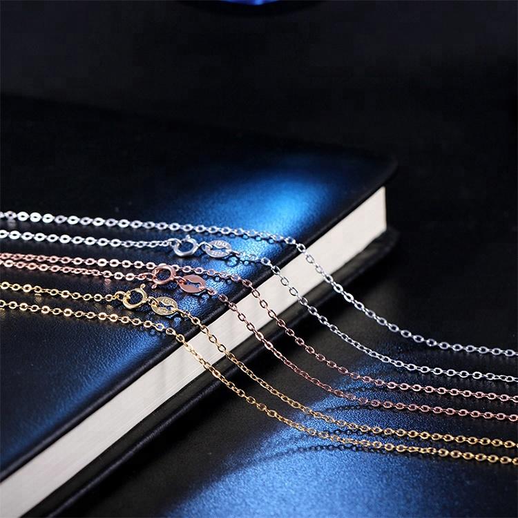 a5f71c279577 18 pulgadas hipoalergénico pequeño broche de plata de ley y chapado en oro  cadena 925 de