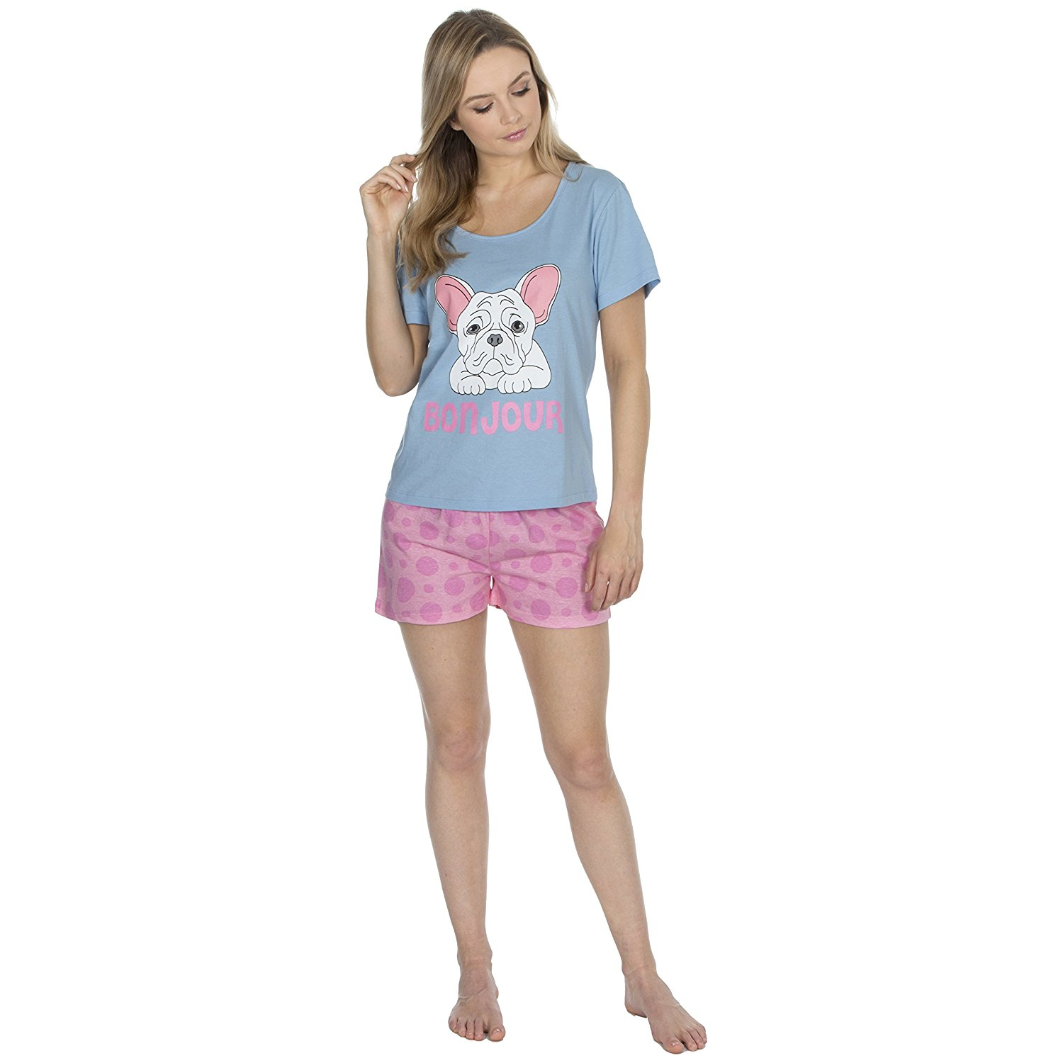 f8874d8e16 Get Quotations · Forever Dreaming Ladies Pyjamas Shorts and T Shirt Set  Pugs Or Cupcake Design