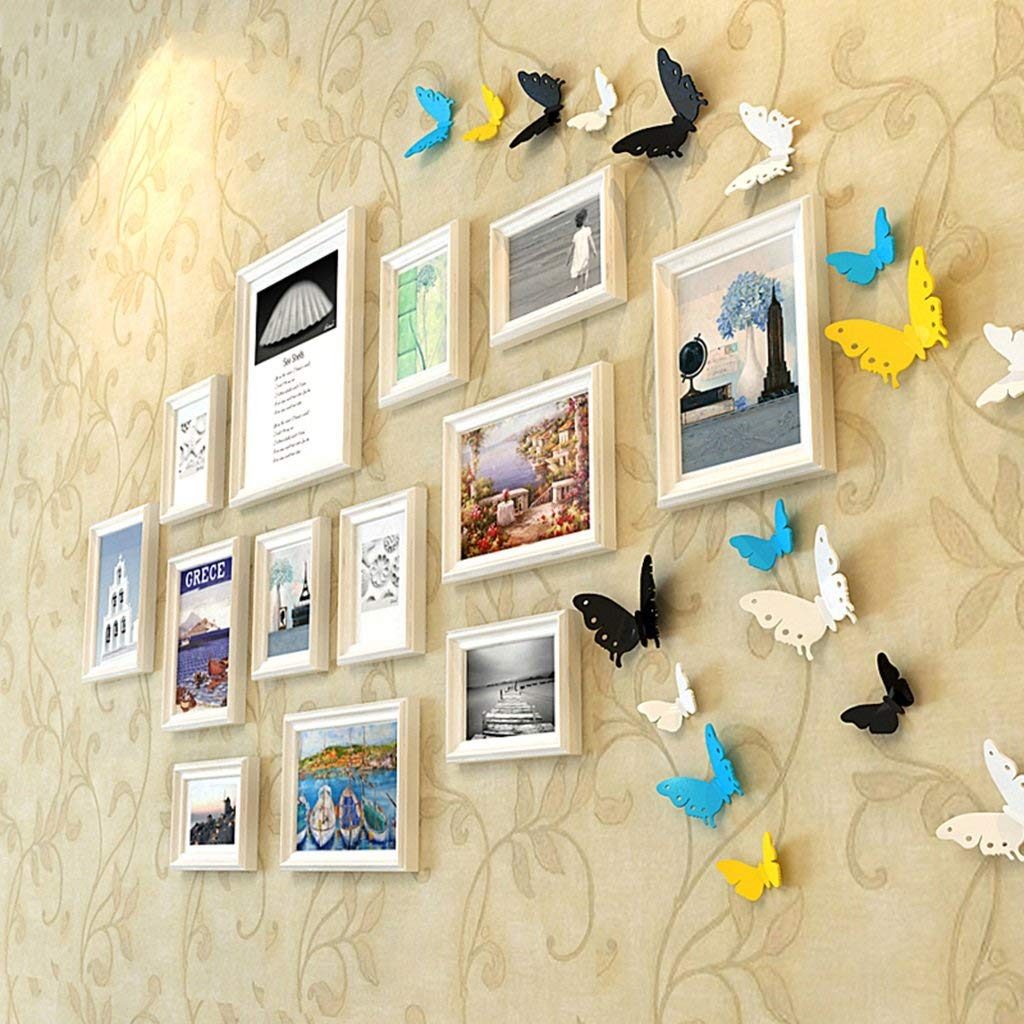 Home@Wall photo frame Photo Gallery Frame Set Of Wall With Usable Artwork And Family, Set Of 13 ( Color : C )