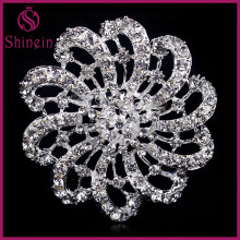 Hot sell cheap flower shaped jewelry rhinestone brooch for wedding