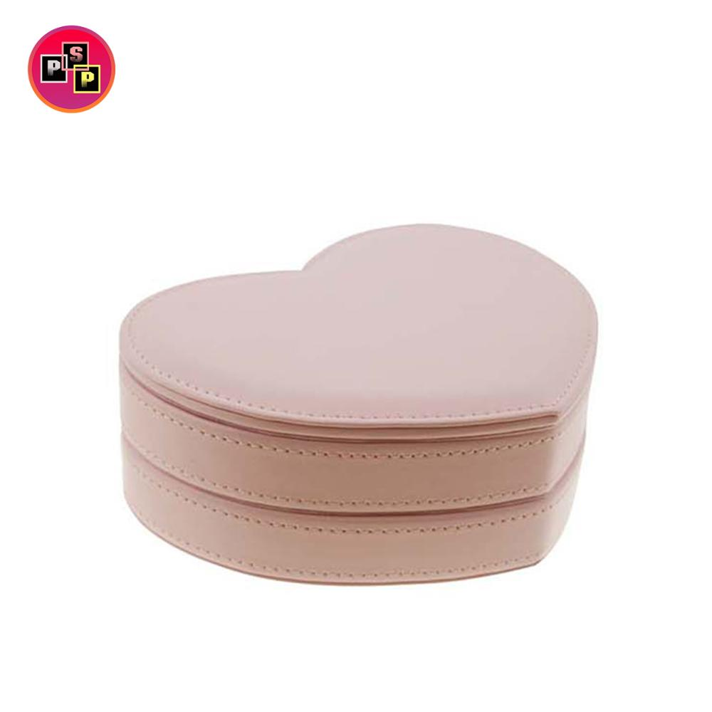 wholesale custom heart-shaped pink leather jewelry box for gift jewelry box