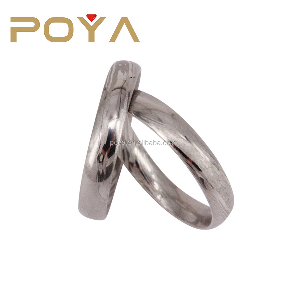 POYA Jewelry Customized 4mm Men's Damascus Steel Wedding Band Rings