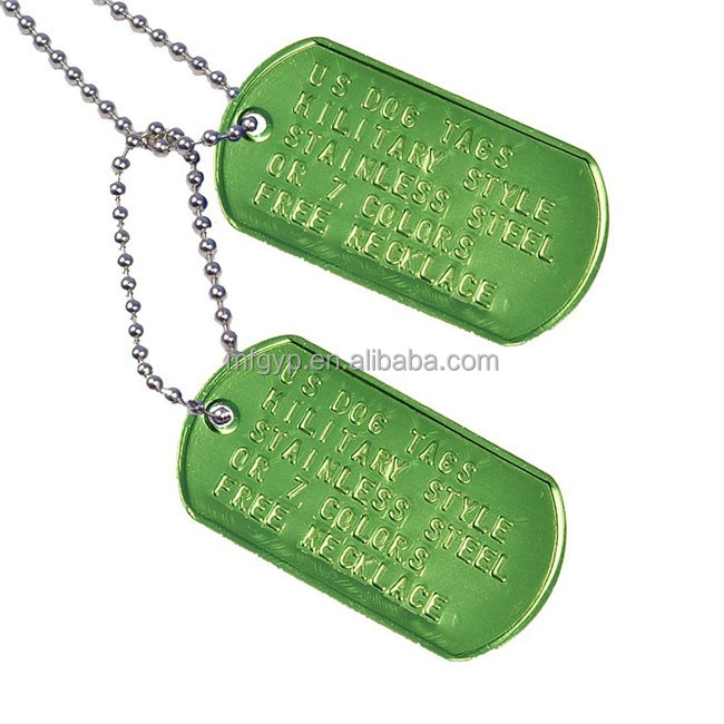 Various color custom info military dog tags with ballchain