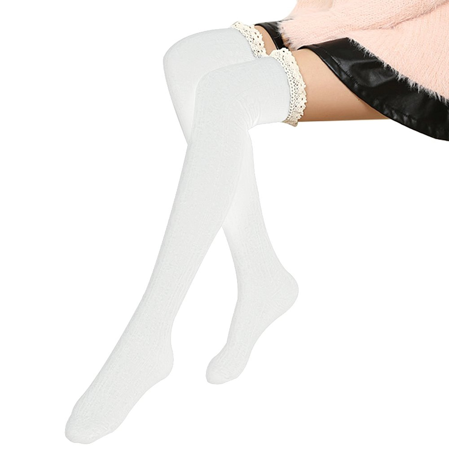 36ccb8c4b Get Quotations · Hippih Women s Thigh High Socks Winter Cable Knit Lace Over  Knee Socks