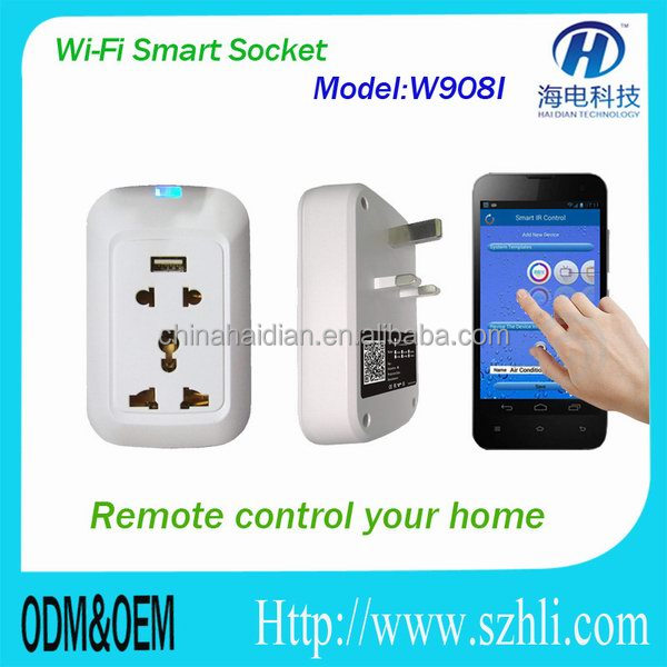 Smart home automation system wifi to ir/rf wall power plug socket/ remote controlled by wifi/2G/3G/4G IOS/Andriod