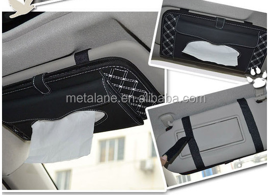 PU Leather Car Sun Visor Tissue Box Napkin Tissue Holder/ CD Holder