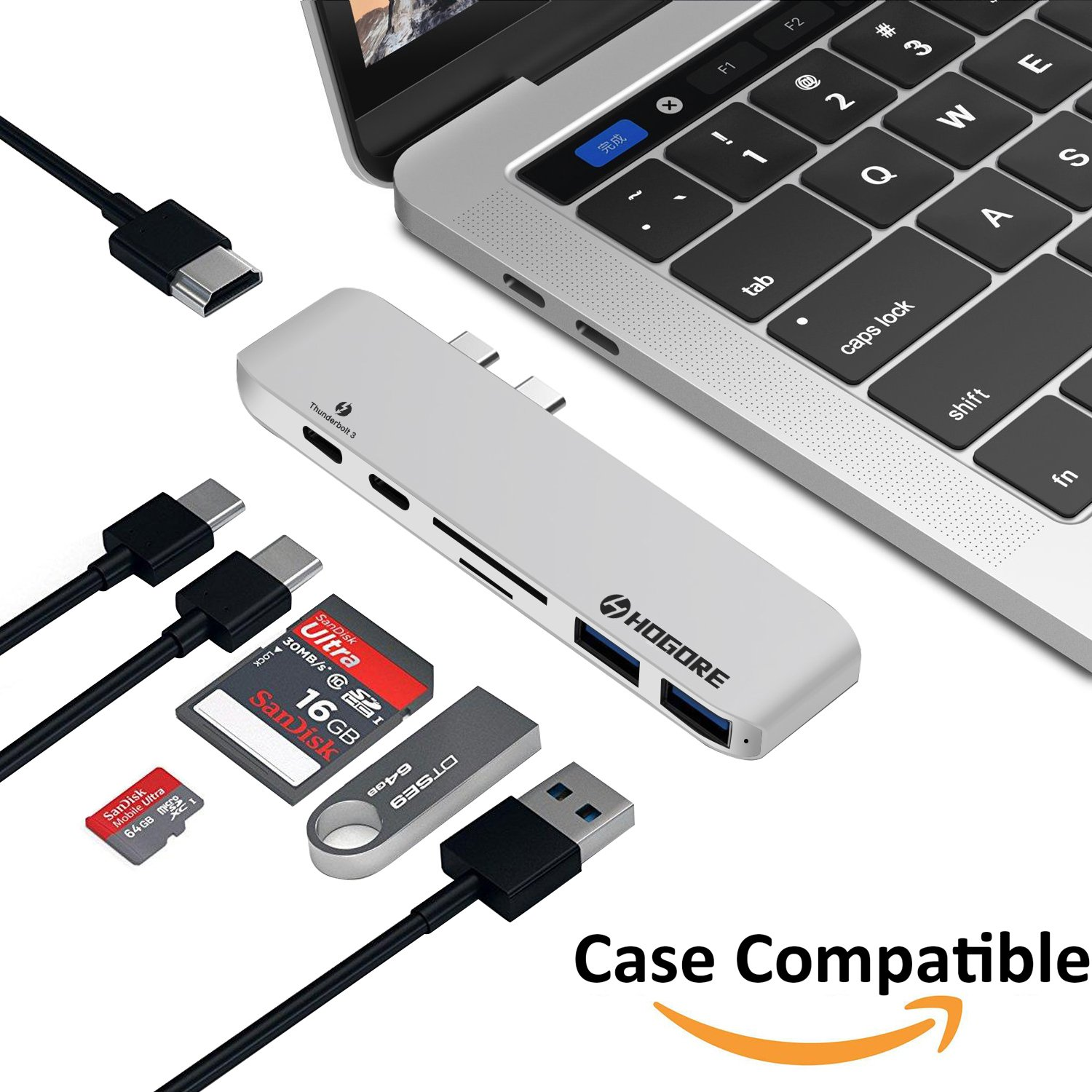 """MacBook Pro Dock, HOGORE Thunderbolt 3 Adapter USB C Hub for MacBook Pro 2017 2016 13"""" 15"""" with 4K HDMI, 40Gbps TB3, 100W Pass-through Charging, USB-C, SD/MicroSD Reader, 2 USB 3.0 Ports -Silver"""