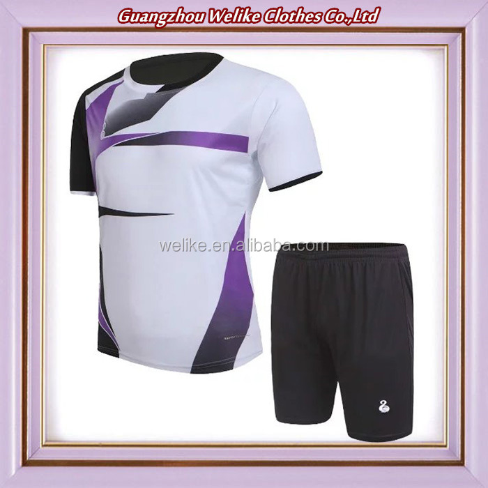 White purple soccer jersey and shorts top quality football uniform wholesale soccer set